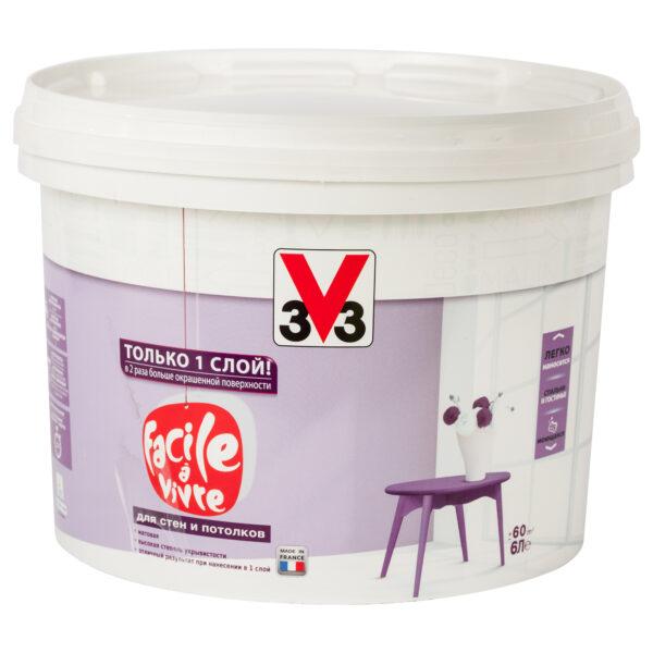 Матовая латексная краска для стен и потолков FACILE LA VIVRE V33 6л