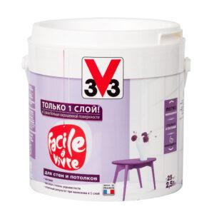 Матовая латексная краска для стен и потолков FACILE LA VIVRE V33 2,5 л
